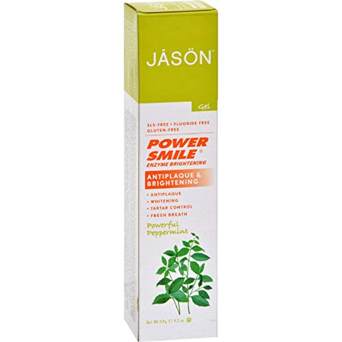 Jason PowerSmile Enzyme Brightening Gel Natural Toothpaste- Powerful Peppermint - 4.2 oz ()