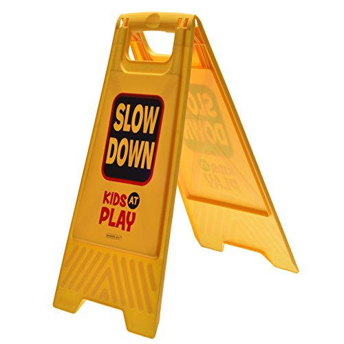 Kids Playing Outdoor Caution Sign for Yards and Driveways (Double-Sided) -Slow Down, Kids At Play