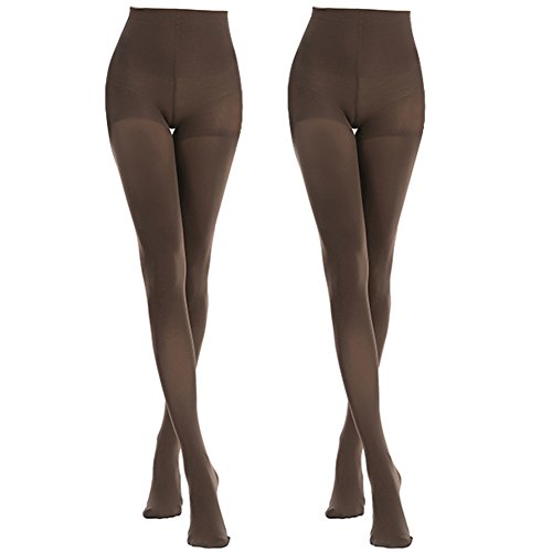MANZI 2 Pairs Women's Opaque Control Top Tights Comfort Stretch 70 Denier Pantyhose by Manzi
