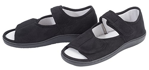 EasyComforts Adjustable Memory Foam Slippers, XL Black