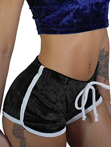 TOB Women's Sexy Drawstring Velvet Outfits High Waist