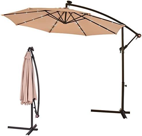HAPPYGRILL 10ft Outdoor Patio Umbrella Solar Powered LED Light Sun Umbrella Hanging Umbrella for Market Yard