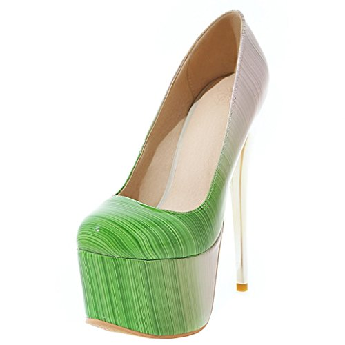 Enmayer Mujeres Patent Leather Sexy Plataforma Stiletto Super High Heels Ronda Y Peep Toe Bombas Slip On Vestido De Novia Zapatos De Corte Verde # 19