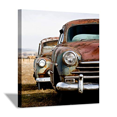 Truck Picture Photo - Hardy Gallery Truck Picture Wall Art Print: Rusty Abandoned Vehicle Photographic on Wrapped Canvas for Man Bedrooms Decoration (24'' x 24'' x 1 Panel)