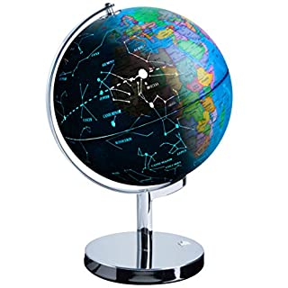 USA Toyz LED Illuminated Globe of The World with Sturdy Chrome Stand - 3 in 1 Educational Interactive Globe STEM Toy, Light Up Earth Globe, Constellation Globe and Nightlight, 13.5 Inch Tall