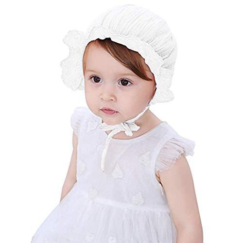 (Baby Girl Toddlers Breathable Lacy Bonnet Eyelet Cotton Adjustable Sun Protection Hat (Flowers White))