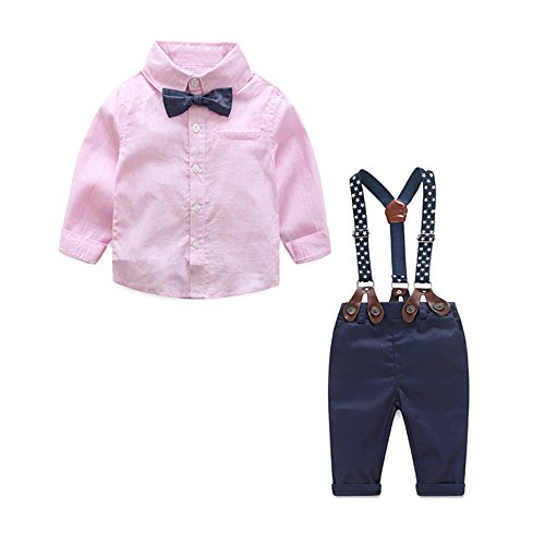 Tem Doger Toddler Baby Boys Gentle Long Sleeve Striped Shirt+Bowtie+Suspender Pants Set Outfit (Pink, 90/12-18 Months) by Tem Doger