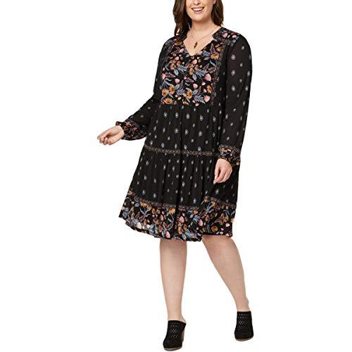 (Style & Co. Womens Plus Knee-Length Printed Tunic Dress Black 3X)