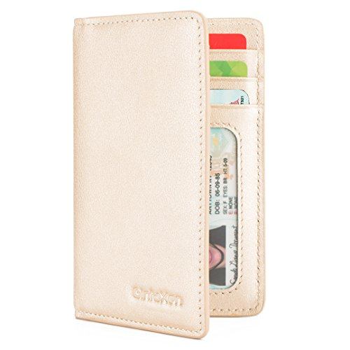 Slim Leather ID/Credit Card Holder Bifold Front Pocket Wallet with RFID Blocking - Gold ()