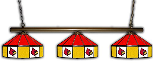 Louisville Pub Light w/ Cardinals Logo - 3 Shade Stained Glass -