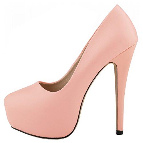 Wedding Women's High Dress Pink Party Sky 14CM Matt Platform Pumps Stiletto Heels Closed Toe Shoes nPrnW0C
