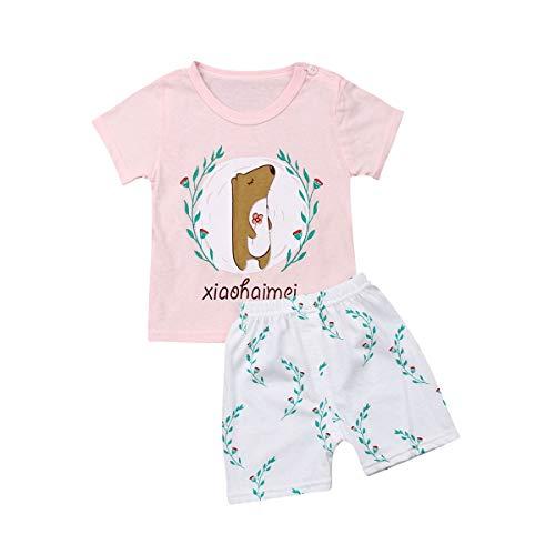 Newborn Baby Unsex Suit Round Neck Short-Sleeved Animal Fruit Print Top Elastic High Waist Shorts (Pink, 75)