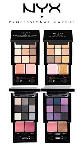 NYX Professional Makeup Kits, 4-Piece Set - 36 eyeshadows / 8 lip colors (Smoky, Bronze Smoky, Purple Smoky, Nude on Nude Natural Look Kits) (Lip Kit Bronze)