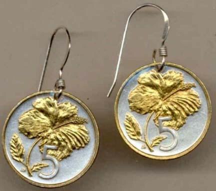 ÒHibiscusÓ Two Tone Coin Earrings ()