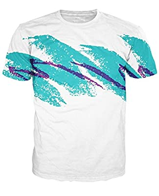 Uideazone Unisex 3D Graffiti Crewneck Shirt Hoodie Sweatshirt Clothing White