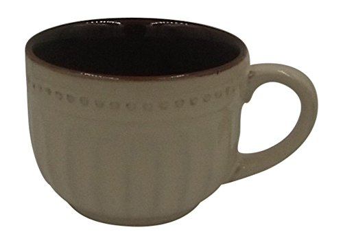 Bestselling 24 oz Beautiful and Ornate Coffee and Soup Mug. Great Quality. Well Made. Dishwasher and Microwave Safe Stoneware. Antique White with Brown Interior. Free Recipe Ebook.