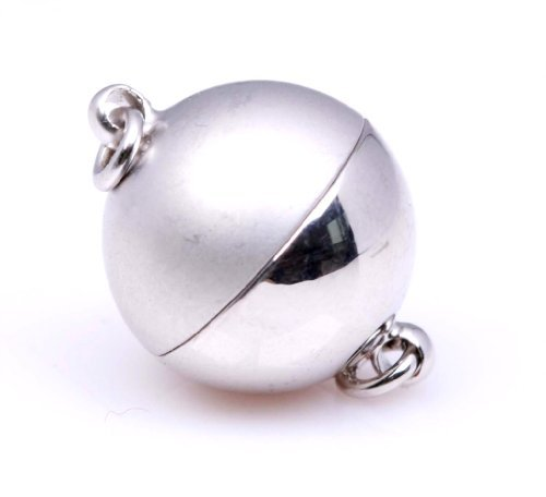 Wholesale LOT of 5 - 12mm 18K White Gold Plated Round magnetic Clasps - Half Matte & Half Shinny