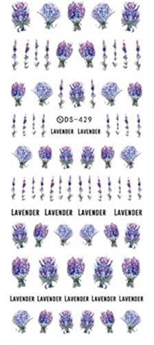 (1 Set Flower Series Nail Art Stickers Sakura Daisy Lavender Floral Water Transfer Nails Wrap Paint Tattoos Stamper Plates Templates Tools Tips Kits Delicate Popular Tool Vinyls Decals Kit, Type-04)