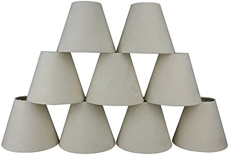 Urbanest Set of 9 3-inch by 6-inch by 5-inch Suede Clip-on Chandelier Shades, Cream
