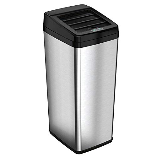iTouchless 14 Gallon Sliding Lid Touchless Sensor Trash Can with Odor Control System, 53 Liter Automatic Garbage Bin for Kitchen and Office, Stainless Steel