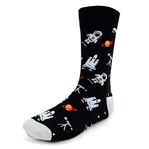 - Urban Peacock Men's Novelty Fun Crew Socks for Dress or Casual - Multiple Patterns to Select From (Astronaut - Black, 1 Pair)