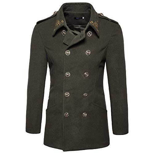 Coat Double-Breasted Vintage Jacket Casual Outwear Overcoat(Army Green,2XL) ()