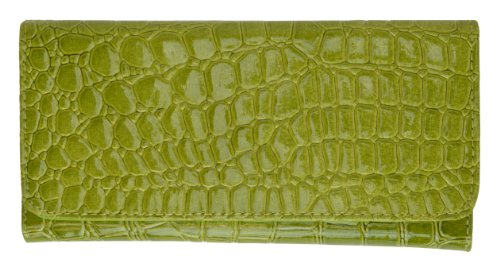 New Style Ladies Clutch Wallet with Embossed Design By Marshal (Lime Green)