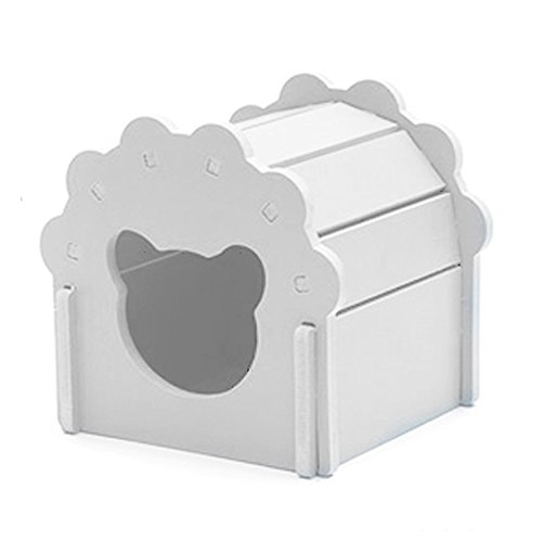 Petzilla Cute Hamster Hideout Hut Sand Bath for Small Animals, Made of Safe Balsa Wood (White)