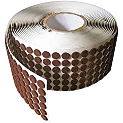 "Brown Adhesive Kiss Cut Felt Button Rolls: Medium-Duty - 3/4"" Dia, 1/8"" Thick (875 Pcs)"