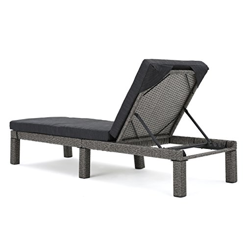 Venice outdoor mixed black wicker chaise lounge with dark for Black and silver chaise lounge
