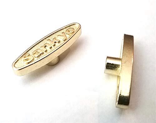 Two Music Box Winding Keys - - 1/8 inch Short Key - - Great for Snow Globes - - Golden Brass Replacement Keys - - Fits Your Music Jewelry Box - - 3 mm Key - - 0.12 inch Key for Music Box Movements (Music Box Replacement Key)