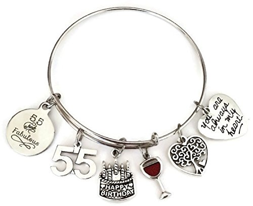 Kit's Kiss 55th Birthday Bracelet, Birthday Gift for Women, 55 and Fabulous Bracelet, Birthday Bangle Bracelet, Birthday Charm, Tree of Life Charm, Birthday Bangle Jewelry (55th Birthday) ()