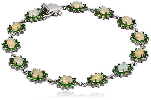 (Women's Sterling Silver Ethiopian Opal & Chrome Diopside Bracelet, Multi, 8)