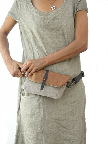 Hip Bag - Fanny Pack - Leather and Canvas - Traveler Bag - Utility Hip Belt - Hip Pouch by Ruth Kraus