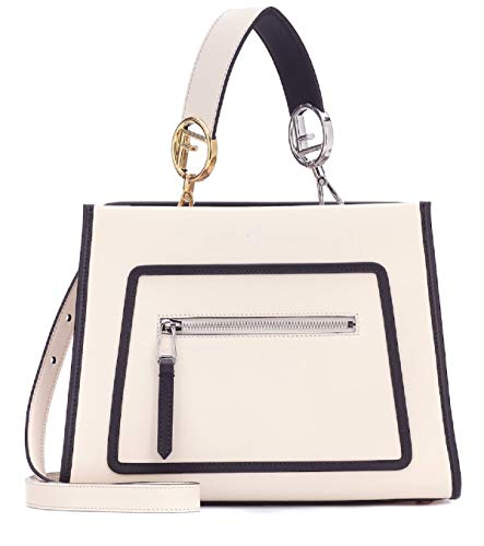 Fendi Shopping Bag Runaway Calf Camelia Cream Beige and Black Leather Shopping tote Handbag w Palladium Hardware 8BH344