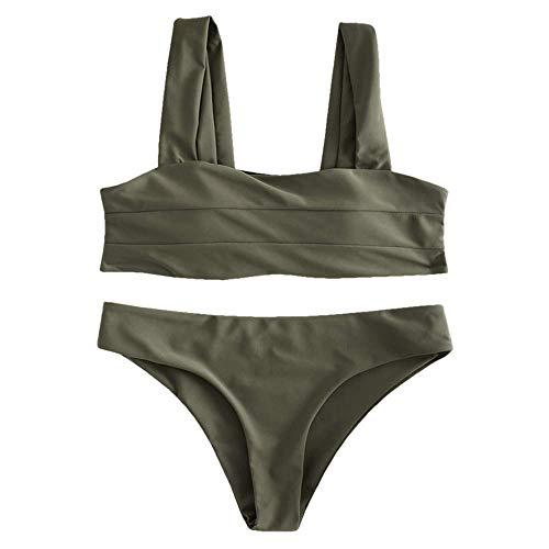 ZAFUL Women's Wide Straps Padded Bandeau Bikini Set (S, Camouflage Green) ()