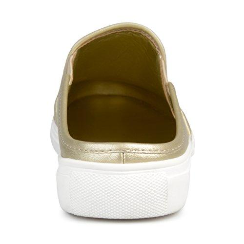 Collezione Journee Donna Casual A Punta Tonda Sneaker Oro Muli