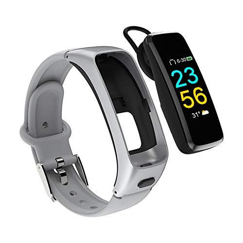 Auricular Bluetooth Manos Libres Pantalla A Color Reloj Inteligente Pulsera De Fitness para Android iOS,Silver