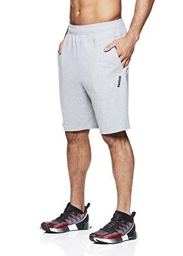 - Reebok Men's Lifestyle Shorts - Running Gym & Workout Short w/Elastic Drawstring Waistband - Grey Time, Large