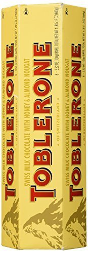 TOBLERONE SWISS MILK CHOCOLATE WITH HONEY AND ALMOND NOUGAT 6 X 100 G BARS (Pack of 3)