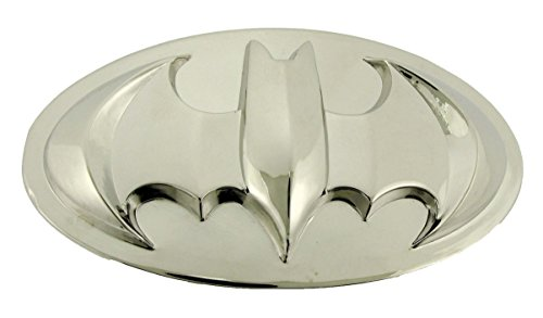Batman 3d Silver Bat Rhinestones Border in Blue Oval Finished Belt Buckle. (Batman 3d All Silver Chrome)