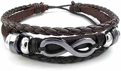 KONOV Mens Womens Leather Bracelet, Love Infinity Charm Bangle, Fit 7-9 inch, Brown Silver