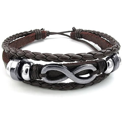 [KONOV Mens Womens Leather Bracelet, Love Infinity Charm Bangle, Fit 7-9 inch, Brown Silver] (Halloween Ideas For Couples)