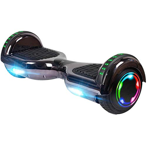 UNI-SUN Chrome Hoverboard for Kids, 6.5' Two Wheel Electric Scooter, Self Balancing Hoverboard with Bluetooth and LED Lights for Adults, UL 2272 Certified Hover Board,Bluetooth Purple