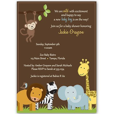 Jungle Baby Shower Invitations, Baby Boy, Safari, Zoo Animals, Giraffe, Monkey, Elephant, Lion, Wild with Excitement Brown, Jungle Jack Custom Printed Invites (10 Pack) ()