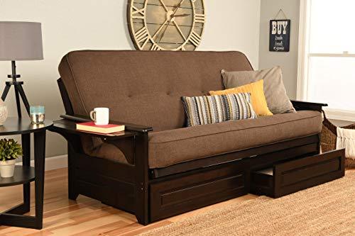 Kodiak Furniture KF Phoenix Full Size Futon in Espresso Finish with Storage Drawers Linen -