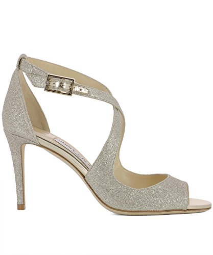 Jimmy Choo Donna Emily85dgzplatinumice Sandali In Pelle Argento