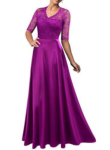 (Mmondschein Women's Vintage Floral Wedding Bridesmaid Evening Long Dress Amaranth)