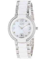 Burgi Womens BUR072WT Mother-Of-Pearl Diamond Ceramic Bracelet Watch