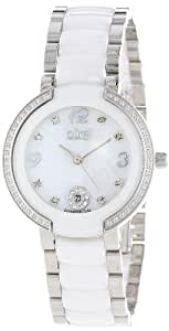 Burgi Women's BUR072WT Mother-Of-Pearl Diamond Ceramic Bracelet Watch